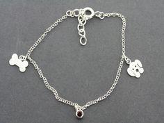dog, bone and garnet bracelet Garnet Bracelet, Bones, Pearls, Sterling Silver, Dog, Unique, Bracelets, Gifts, Beautiful