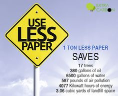 You know what 1 ton paper is equal to?  1 Ton Less Paper   SAVES  17 trees 380 gallons of oil 6500 gallons of water 587 pounds of air pollution 4077 Kilowatt hours of energy 3.06 cubic yards of landfill space