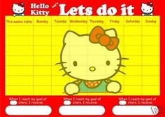 LARGE A3 HELLO KITTY REWARD CHART Inc STICKERS and PEN