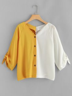Young Casual Shirt Regular Fit V Neck Long Sleeve Placket Multicolor Regular Length Two Tone Knot Detail Blouse Source by daydaychic Blouses Girls Fashion Clothes, Teen Fashion Outfits, Cute Casual Outfits, Casual Shirt, Moda Afro, Frock Design, Cute Blouses, Blouse Designs, Trending Outfits