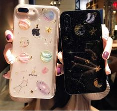 Cartoon Planet Space Star Glitter Powder Phone Case Back Cover for iPhone XS - Sarah Louise - Handytasche Pretty Iphone Cases, Cute Phone Cases, Iphone 7 Plus Cases, Iphone Phone Cases, Iphone 11, Galaxy Phone Cases, Apple Iphone, Silicone Phone Case, Diy Phone Case