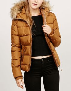 BSK nylon jacket with fur hood. Discover this and many more items in Bershka…