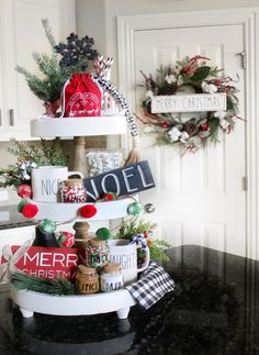 Obsessed with the new Rae Dunn Christmas collection- ESPECIALLY those cute spice jars! Christmas Decorations For The Home, Christmas Wreaths, Christmas Crafts, Christmas Ideas, Winter Decorations, House Decorations, Homemade Christmas, Holiday Decorating, Holiday Ideas