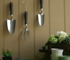 Tongue and Groove: 'Stone-Dark-Warm' Tool Handles: 'Chocolate Colour' Pots: (l-r) 'Acre'; Masonry Paint, Little Greene Paint, Pots, Traditional Paint, Neutral Paint Colors, Brown Paint, Shades Of Beige, Painting Wallpaper, Painted Floors