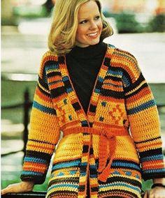 Vintage Crochet Wrap Cardigan Pattern - Boho Aztec Sweater Jacket - Sweater Pattern - PDF Instant Do Crochet Wrap Pattern, Crochet Coat, Crochet Jacket, Crochet Cardigan, Crochet Clothes, Crochet Patterns, Sweater Coats, Wrap Sweater, Sweater Jacket