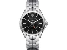 Calibre 7 GMT Automatic Watch by TAG Heuer - steel case and bracelet with black pinstriped non-numerical dial