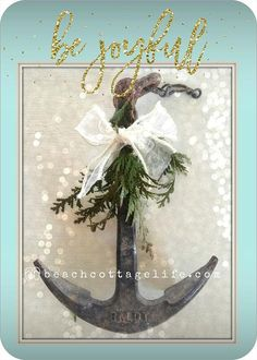 COASTAL Holiday Cards Be Joyful Beach Christmas Nautical Anchor