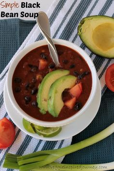 Simple Black Bean Soup - This Simple Black Bean Soup is the perfect weeknight meal. Try it tonight and have dinner on the table in under 30 minutes!