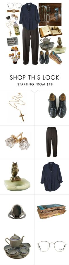 """""""god, that man has failed me."""" by urmypoison ❤ liked on Polyvore featuring Rock 'N Rose, Dr. Martens, Cédric Charlier, Xirena, Ray-Ban, Rolex, vintage and artsy"""