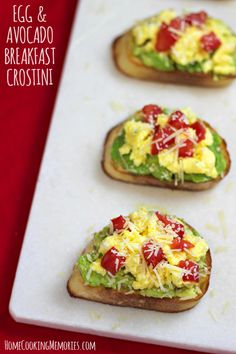 Egg and Avocado Breakfast Crostini -- delicious little bites for a great start to your day. You could also add some spinach leaves or cilantro. Yum.