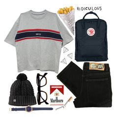 """""""school"""" by marinenymphs ❤ liked on Polyvore featuring Fjällräven, Cheap Monday and J.Crew"""