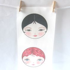 Matryoshka doll faces set of 3 - Su Lin, Kirstie and Delphine  £4.50