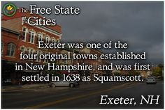 The history of Exeter, New Hampshire is available at The Free State Encyclopedia! http://freestatenh.org/encyclopedia/cities/exeter