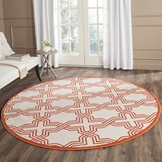 Home Decorators Collection | Safavieh Amherst Collection AMT413F Ivory and Orange Indoor Outdoor Round Area Rug 7 Diameter -- Click image for more details. Note:It is Affiliate Link to Amazon.