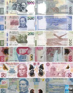 Le Peso Mexicain : Emission à partir de 2006 et 2018 #mexique #mexico #voyage #tourisme #travel #currency #devise #pesomexicano Change, Personalized Items, Weapons Guns, School, Mexican Peso, Banknote, Motto, Mexico, Tourism