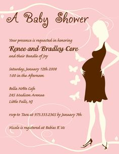 Baby Shower Invitation Pregnant Mom With Erflies