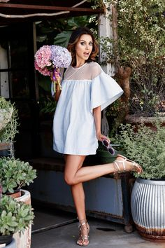 #dress #sheer #bell #sleeves #summer