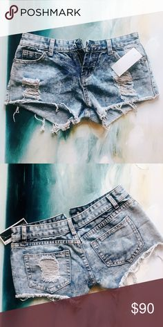 Free People Destroyed Shorts Free People High Waisted Destroyed Shorts  Medium Wash  New with Tags  Fabric: Cotton Free People Shorts Jean Shorts