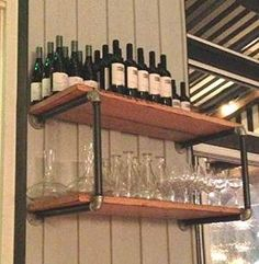 Preview DIY Industrial Retro Wall Mount Iron Pipe Shelf Storage Shelving Bookshelf by Kitchen-Odda