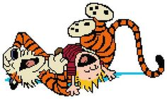 Calvin and Hobbes Laughing Cross Stitch Pattern by StitchRoberts