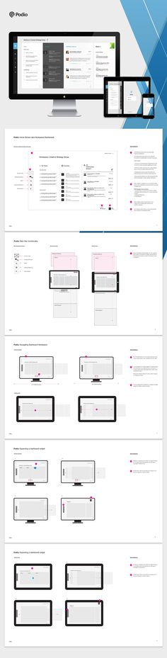 One the objectives while working at Citrix was to create a unified system. One of products I redesign the UX for was Podio. Below is a sampling of the final documentation I delivered that illustrated the way content is disclosed and how main navigation fu…