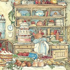 The wedding day dawned at last. The kitchens of Brambly Hedge were full of activity.