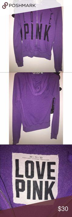Purple VS Pink zip up hoodie size XS $25 Purple Victoria's Secret pink zip up sweatshirt size XS barely used,great quality super comfy (: PINK Victoria's Secret Tops Sweatshirts & Hoodies
