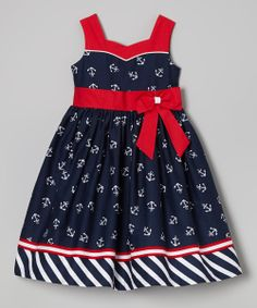 Jayne Copeland Navy & Red Bow Sash Anchor Dress - Toddler & Girls by Toddler Girl Dresses, Toddler Outfits, Kids Outfits, Toddler Girls, Little Girl Dresses, Girls Dresses, Anchor Dress, Girl Dress Patterns, Kind Mode