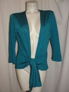 Chico's travelers Jacket 8/10 Teal Blue Stretch 3/4 Sleeve Tie Front Top Sz M 1 #Chicos #KnitTop #EveningOccasion