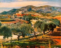 Joaquim Mir i Trinxet (or Joaquin Mir, Canyelles Spanish Painters, Spanish Artists, Impressionist Paintings, Impressionism, Art Espagnole, Different Art Styles, Landscape Artwork, European Paintings, Barcelona