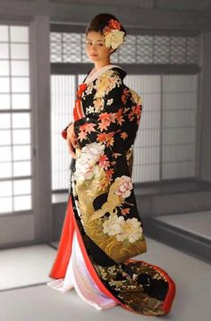67afe8d9d Stunning Crane, Peony and Maple Leaf Uchikake Wedding Kimono, Japanese  Kimono, Sari,