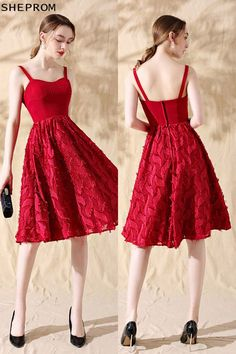 13a96b28e14 Leaf Lace Aline Red Short Homecoming Party Dress with Straps  HTX86057 at  SheProm.