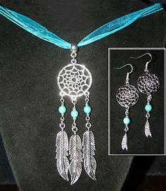 "3 pc Set Turquoise Silver Southwest Dream Catcher Pendant Necklace 16"" Earrings"
