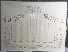 panneau peint et manuscrit : Enfants de Marie fin 19ème 85x108
