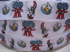 "7 8"" Thing One Two Dr Seuss Inspired Grosgrain Printed Ribbon Cat in The Hat 