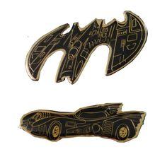TwO BATMAN 1989 DC Comics lapel enamel pins LoT NOS batmobile batplane