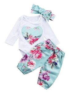 Angelchild Newborn Baby Girls Clothes Floral Heart Print Romper Pants Bowknot Headband Outfit Set Blue 70 * You can find more details by visiting the image link. (This is an affiliate link) Romper Long Pants, Long Sleeve Romper, Baby Outfits, Birthday Outfit, Baby Girl Newborn, Baby Girls, Newborn Baby Gifts, Floral Pants, Floral Sleeve