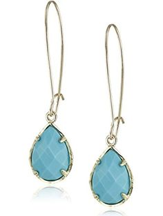 Kendra Scott Signature Dee Drop Earrings in Turquoise Color Magnasite and Gold Plated ❤ Kendra Scott