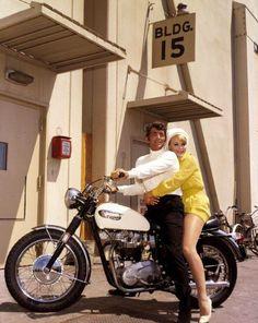 Dean Martin on his Triumph