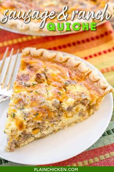 Sausage and Ranch Quiche - so quick and easy. Everyone LOVED this recipe!! Can make ahead and freeze for later. Pie crust, sausage, ranch dressing, cheddar cheese, heavy cream, eggs, and pepper. Ready to eat in an hour. Great for breakfast, lunch or dinner. THE BEST! #casserole #freezermeal #brunch #lunch #dinner #breakfast #sausage Breakfast Quiche, Sausage Breakfast, Breakfast Dishes, Breakfast Recipes, Sausage Quiche, Vegan Breakfast, Breakfast Casserole, Omelettes, Quiches