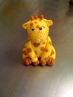 Fondant Cake Topper   Birthday Giraffe by ReadyCakeDecorations