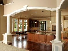 Interior paint color for Family Room.  Detailed interior molding transitioning rooms.