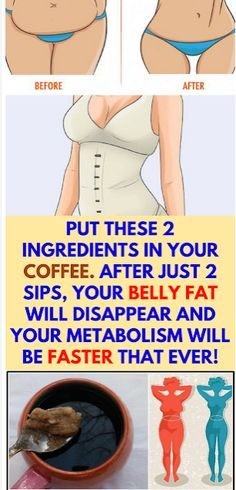 Put These 2 Ingredients In Your Coffee. After Just 2 Sips, Your Belly Fat Will D… Put These 2 Ingredients In Your Coffee. After Just 2 Sips, Your Belly Fat Will Disappear And Your Metabolism Will Be Faster That Ever! Health Benefits, Health Tips, Health Care, Health Trends, Colon Irritable, Weight Loss Tips, Lose Weight, Reduce Weight, Water Weight