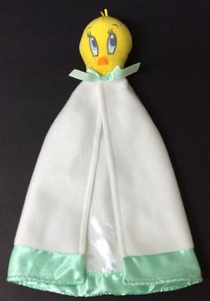 1e8d3fadc9 Baby Looney Tunes Tweety Bird Blanket White Green Satin Trim Security