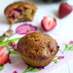 Simple but satisfying strawberry muffins - gluten and dairy free. Replace honey with maple syrup