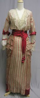 1914 Red Striped Dress