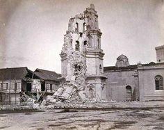 Torre de la Catedral después del terremoto de 1880. Francisco van Camp. SHM El terremoto de 1880 causó considerables daños en la ciudad de Manila, y especialmente en el edificio octogonal de cuatro cuerpos de la Catedral.Torre