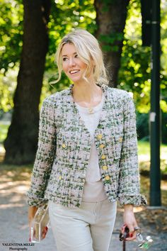 chanel style jacket by edward achour paris and top and weaven jeans