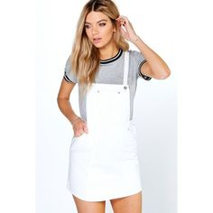 Boohoo Blue Laura Denim Pinafore Dress ($44) ❤ liked on Polyvore featuring dresses, white, white dresses, white body con dress, evening dresses, bodycon dress and white cami dress