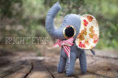 Handmade Plush Elephant by Brighteyesshop on Etsy Bright Eyes, Elephant, Plush, Christmas Ornaments, Holiday Decor, Unique Jewelry, Handmade Gifts, Etsy, Vintage